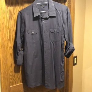 Marc Anthony long sleeve button up navy shirt